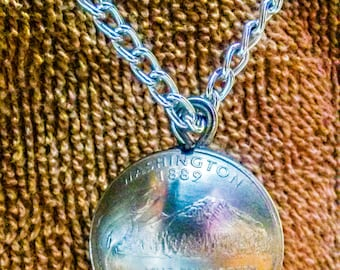 Domed Coin Necklace made from 2 domed coins with necklace 14 to24 inch chain {  FREE SHIPPING  }