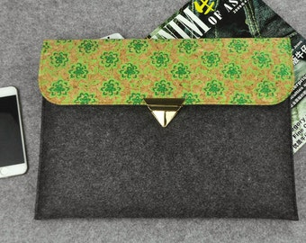 Felt ipad mini case with green flowers, cork iPad Air 2 case, iPad Mini sleeve, iPad Air sleeve, iPad cover, iPad Air 2 cover, B1F283