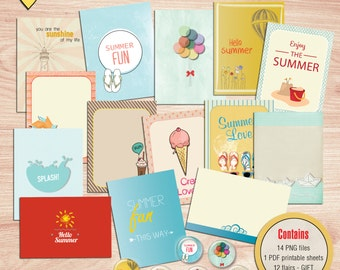 SUMMER SALE - Summer Journal Cards - Instant Download - Printable journaling cards for Project Life and digital scrapbooking