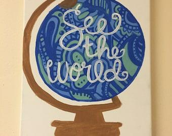 See The World globe custom canvas painting