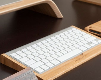 Bamboo Bluetooth Apple Wireless Keyboard holder - Desk Collection