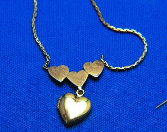 Vintage Ciani Sterling Silver Gold Vermeil Locket Necklace