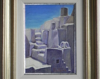 HIEROGLYPHIC in a cas of MYKONOS - painting oil on canvas