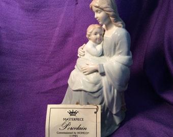 vintage porcelain figurine mother & child madonna baby Homco 8809