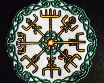 LARGE Vegvisir Norse Compass Viking Sailing Patch Biker Leather Embroidery