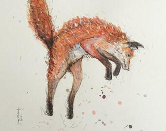 Original Illustration Leaping Fox