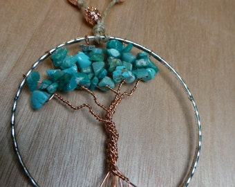 Tree of Life Rearview Pendant - Teal_2