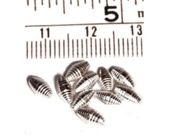10 pcs Hill Tribe Silver White Spiral Oval Beads, 6mm, Fair Trade, fine silver, jewellery making, silver beads