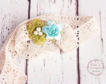 Newborn headband, baby tieback, photography prop, lace, pearl, moss, turquoise flower