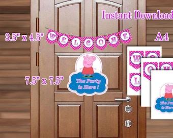Peppa Pig Birthday Welcome Door sign, Printable PDF