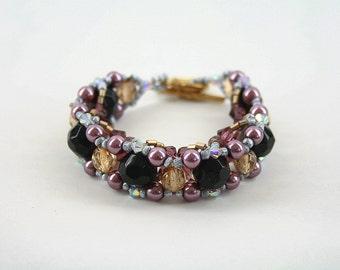 Big Beaded Bracelet with Swarovski Bicones and Fire Polish beads