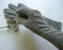 Knit women's long gloves 100% pure wool Hand knitted warm winter hand warmers mittens armwarmers winter women warm gloves Gift for her!