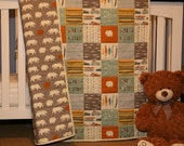 Modern Baby quilt, feather river, birch organic fabrics, grey, aqua, gold, brown, nursery decor, baby blanket