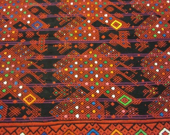 Guatemalan Table Runner, Red & Black and Multicolor