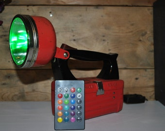 Upcycled retro torch, desk lamp, remote control colour change LED lamp.