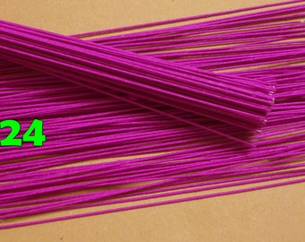"""100 Wire Stems--Gauge#24-- (Length 12"""" X 0.8 mm) Floral Wire Flower Stem Artificial, Artificial Stems, Floral Stem, Fuchsia Wire Stems."""