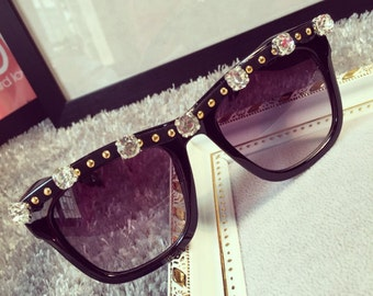 Rhinestone Gems Sunglasses gold Studded Sunglasses
