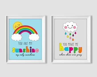 You are my sunshine, you make me happy when skies are gray, baby nursery decor, wall art printable quote, digital print, rainbow