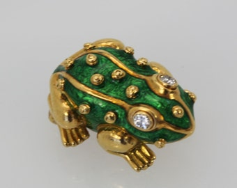 DAVID WEBB Iconic Green Enamel FROG Brooch Pin Diamond Eyes 18k Yellow Gold 1980