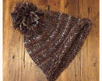 Brown Knitted Winter Bobble Hat