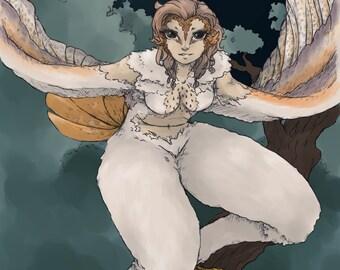 Owl Harpy Print A5