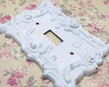 Shabby Chic Switch Plate, Decorative Switch Plate, Metal Switch Plate Cover, French Country Decor, Cottage Chic Decor