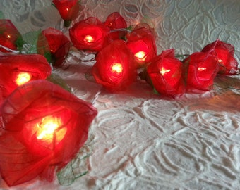 Red  Romantic Rose Flower string lights For Wedding , Party,Valentine'Days (20 bulbs)