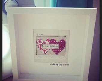 Handmade and Personalised Wedding, Engagement 0r Anniversary Boxed Frame