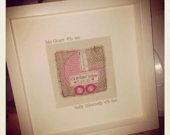 Handmade and Personalised Baby Boxed Frame
