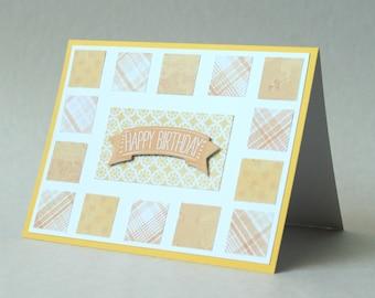 Sunshine Birthday Card, Happy Birthday Card, Paper Handmade Greeting Card, Yellow & Orange