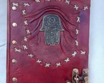 Leather Handmade Fatima's Hand Notebook Sketchbook Journal Diary/With C_Hook Lock