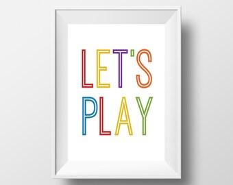 Playroom Wall Art, Let's Play Print, Play Print, Playroom Art, Classroom Printable, Colorful Print Classroom Print, Typographic Art
