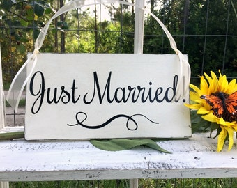 WEDDING SIGNS | Just Married | Bride and Groom | Mr and Mrs | Wood Wedding Signs | Flower Girl Signs | 6 x 11.5