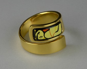 Dream Series Enamel 18K Gold Plated Copper Bodied Ring
