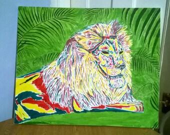 RASTA LION oil painting