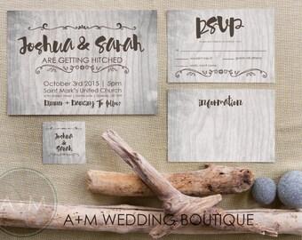 Wedding Invitation set, Rustic Printable Invitations, Country invitation set: WOODSIDE
