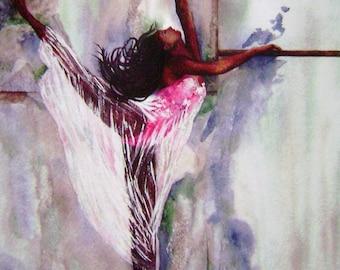 Ebony Dancer Watercolor Print Ballet Dance By: B. Feyedelem