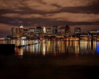 11x14 Print Boston Skyline at night