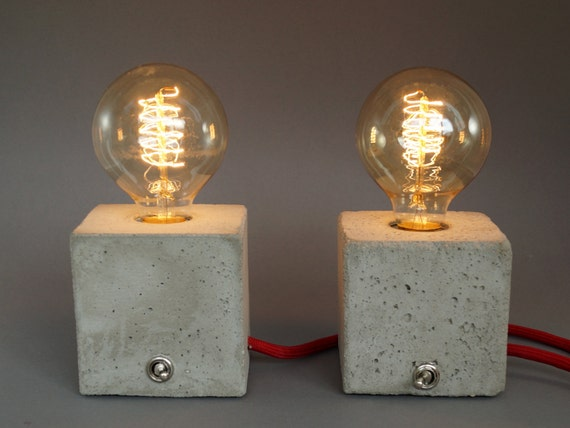 2 nachttischlampen concrete lamp cubo aus beton. Black Bedroom Furniture Sets. Home Design Ideas