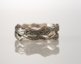 Sterling Silver (925) stacking wood rings, wediing bands, unisex jewelry
