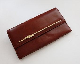 Leather clutch / cognac Leather / Brown clutch