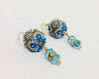 Blue seed beaded cubic earrings