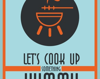 "Kitchen Quote Poster ""Lets cookup something yummy"", Kitchen Print, Kitchen Art, Cooking Print, Wall Art Decor"