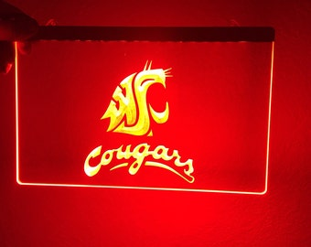WSU sign, Cougars light, Cougars sign
