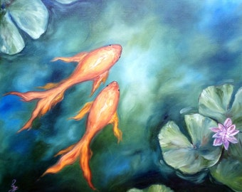 Lily Pond - Original oil painting, fish, koi, lotus, Zen, goldfish, 24x20, lily pad