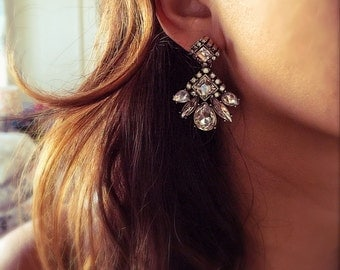 Vintage Crystal Art Deco great gatsby earrings wedding earrings flapper 1920s jewlery
