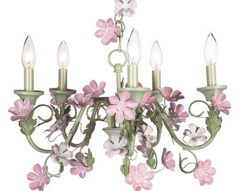 Pink and Green Leaf and Flower Chandelier 929009