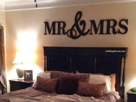 Mr mrs wood letterswall d cor painted wood letters wall for Bedroom 5 letter words