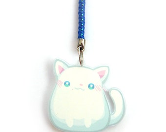 Doublesided 1.5 Inch White Cat Charm