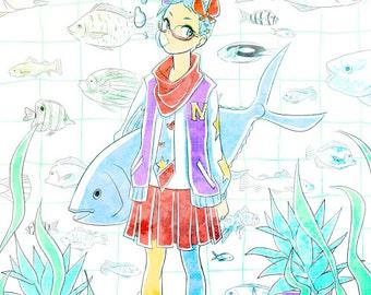 Fish girl Poster